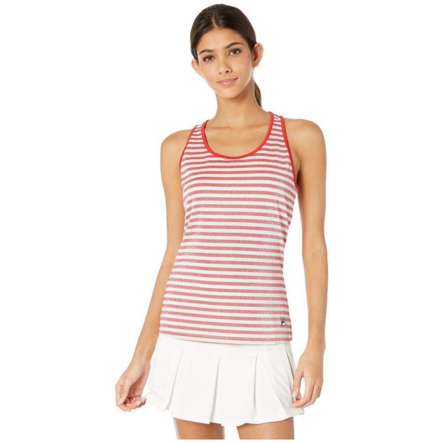 フィラ Fila レディース トップス テニス Heritage Tennis Sparkle Stripe Tank Top Chinese 赤/白い