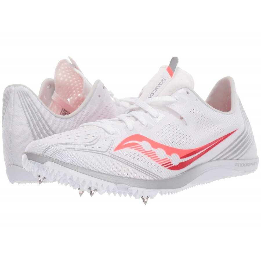 サッカニー Saucony レディース ランニング・ウォーキング シューズ・靴 Endorphin 3 白い/Vizi 赤