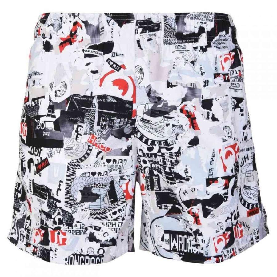 ヒューゴ ボス HUGO メンズ 海パン 水着・ビーチウェア Printed Technical Fabric Swim Shorts 白い/黒 Pt