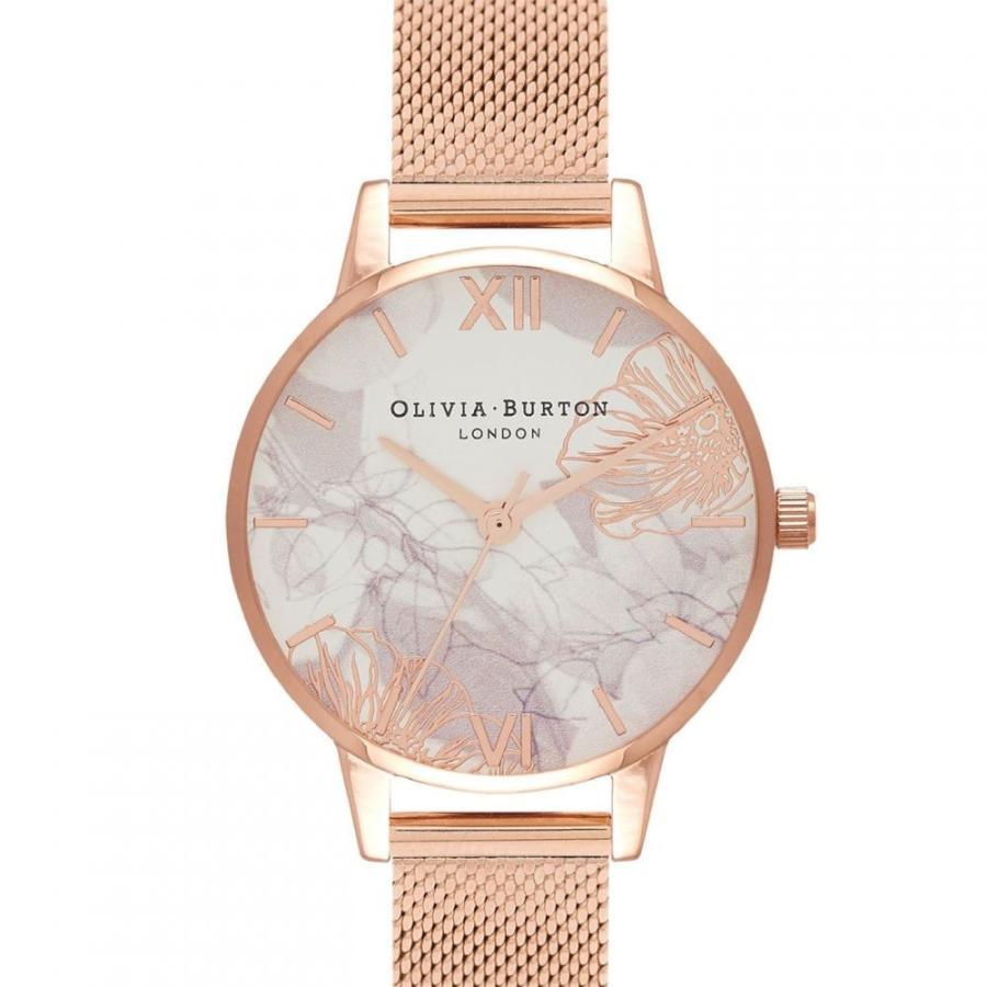 2019激安通販 オリビア バートン Olivia Burton レディース 腕時計 Abstract Floral Mesh Strap Watch White/Rose Gold, アサゴグン aa27e7bf