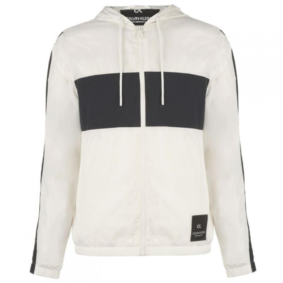 カルバンクライン Calvin Klein Performance メンズ レインコート アウター Calvin Performance Windbreaker Rain Jacket 白い/赤