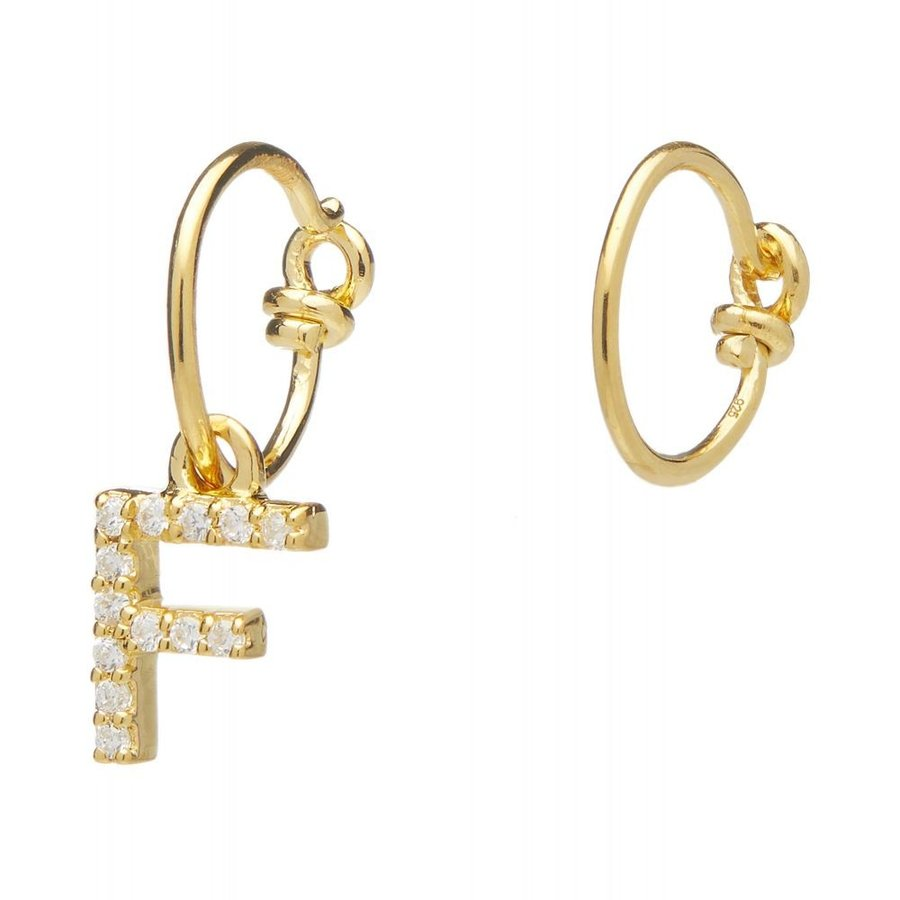 いいスタイル セオドラウェア Theodora Warre レディース Letter イヤリング・ピアス ジュエリー・アクセサリー レディース Gold-Plated Gold-Plated Zircon Letter F Mismatched Hoop Earrings, ジュエリープラス+:8b0c461d --- airmodconsu.dominiotemporario.com