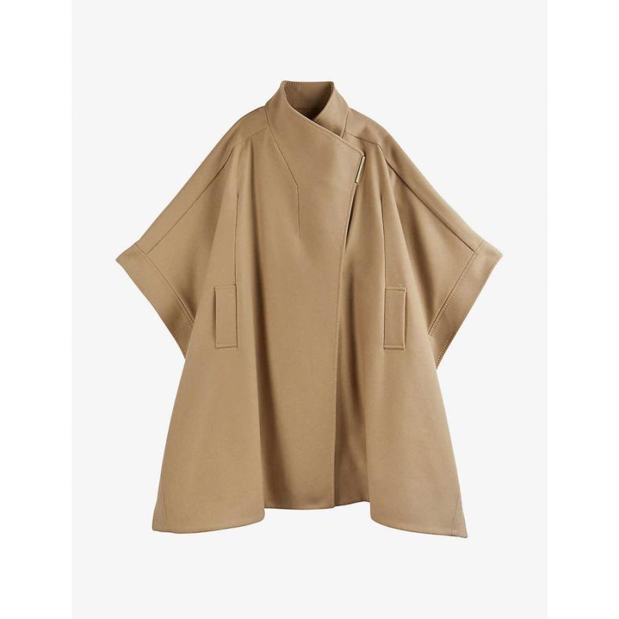 テッドベーカー TED BAKER レディース ポンチョ アウター Relaxed-fit wool-blend cape coat CAMEL