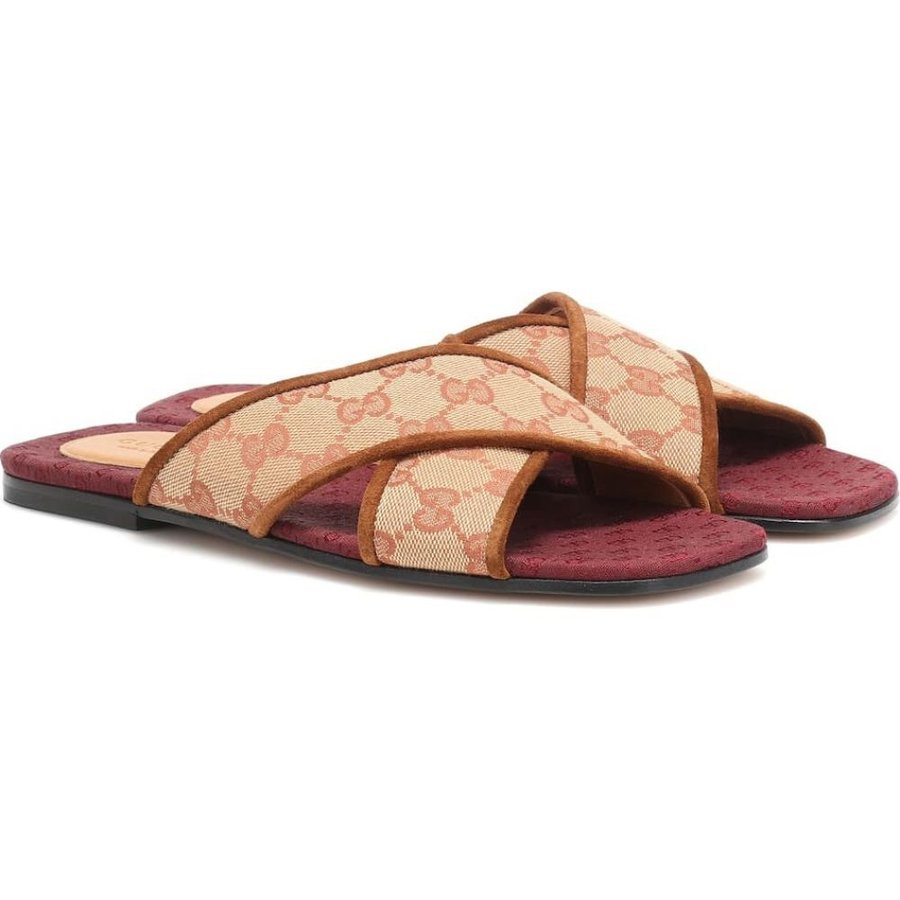 グッチ Gucci レディース サンダル・ミュール シューズ・靴 Original GG suede-trimmed slides Beige-Ruggine/Cuir