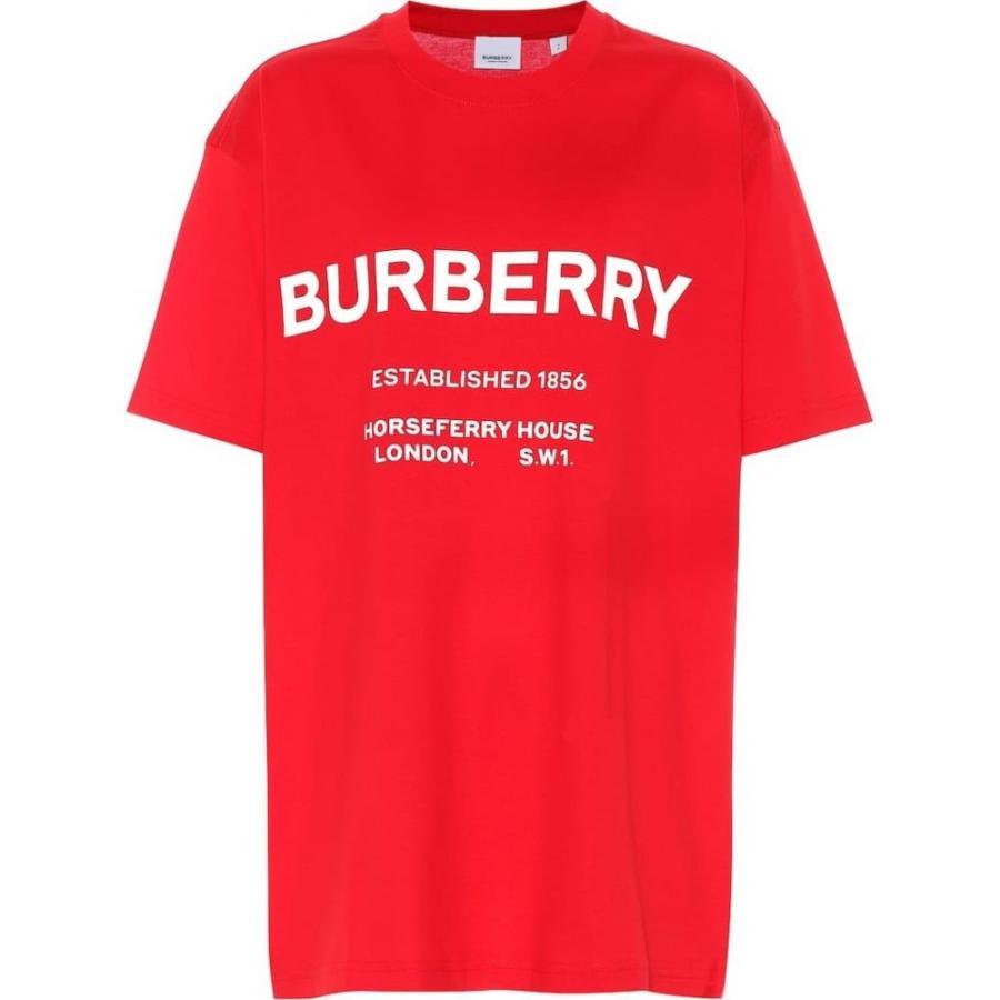 バーバリー Burberry レディース Tシャツ トップス Logo cotton T-shirt bright 赤