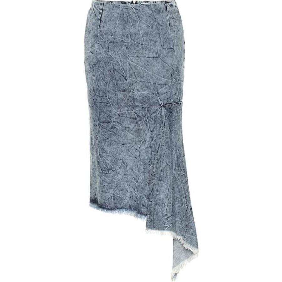 バレンシアガ Balenciaga レディース ひざ丈スカート スカート Asymmetric denim midi skirt Crinkle Wash