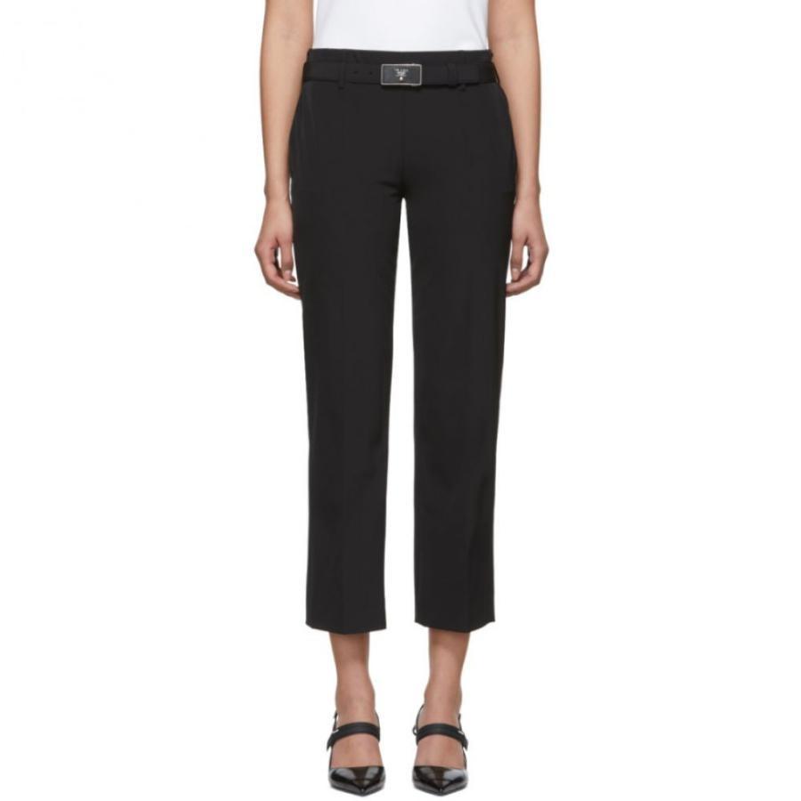 プラダ Prada レディース ボトムス・パンツ 黒 Square Belt Trousers