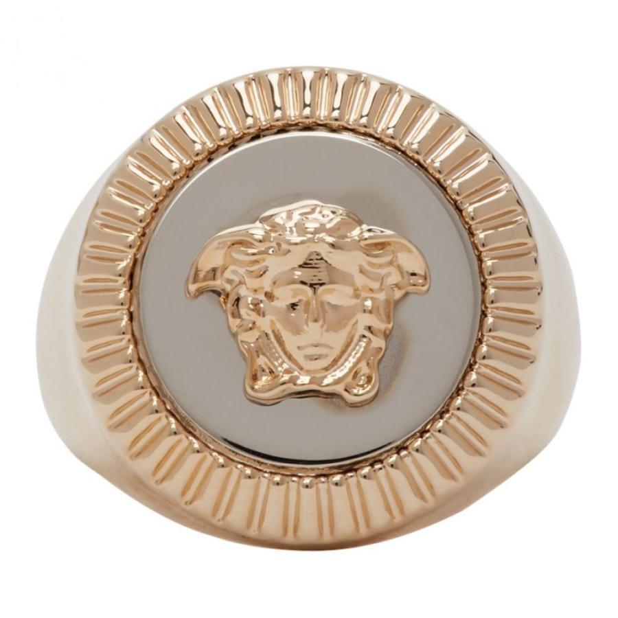 贅沢品 ヴェルサーチ Versace レディース 指輪・リング メデューサ ジュエリー・アクセサリー Gold & Silver Guilloche Medusa Signet Ring Silver, こだわりパン屋の田中さん 32a56893