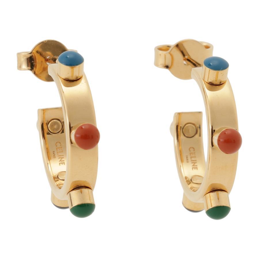 【即納】セリーヌ Celine レディース イヤリング・ピアス ジュエリー・アクセサリー Technicolor Hoop Earrings 46R056BRE GOLD MULTICOLOR スタッズ 2個セット|fermart3-store