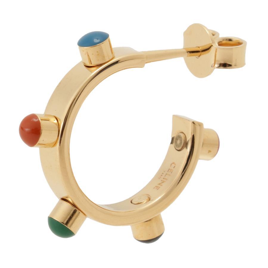 【即納】セリーヌ Celine レディース イヤリング・ピアス ジュエリー・アクセサリー Technicolor Hoop Earrings 46R056BRE GOLD MULTICOLOR スタッズ 2個セット|fermart3-store|02