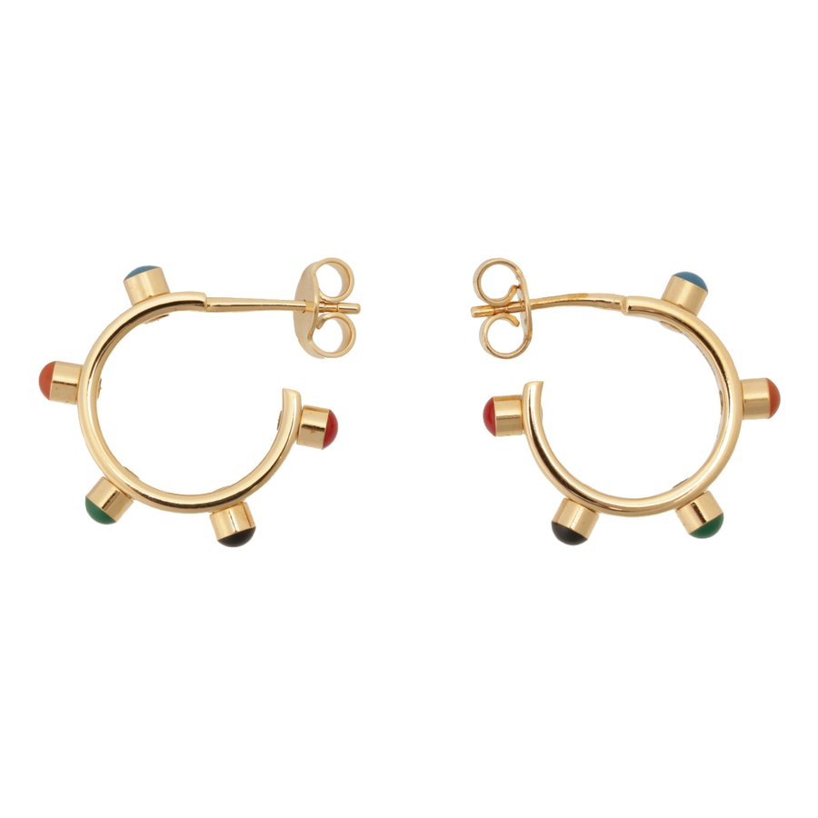【即納】セリーヌ Celine レディース イヤリング・ピアス ジュエリー・アクセサリー Technicolor Hoop Earrings 46R056BRE GOLD MULTICOLOR スタッズ 2個セット|fermart3-store|03