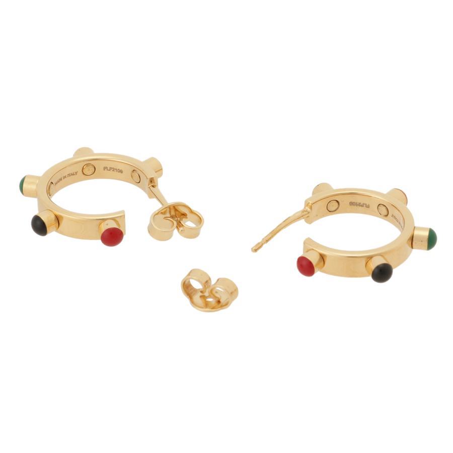 【即納】セリーヌ Celine レディース イヤリング・ピアス ジュエリー・アクセサリー Technicolor Hoop Earrings 46R056BRE GOLD MULTICOLOR スタッズ 2個セット|fermart3-store|04