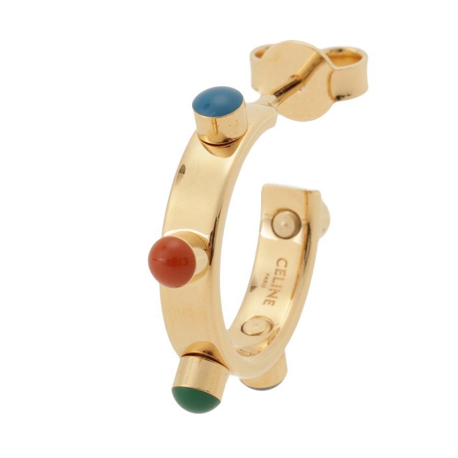 【即納】セリーヌ Celine レディース イヤリング・ピアス ジュエリー・アクセサリー Technicolor Hoop Earrings 46R056BRE GOLD MULTICOLOR スタッズ 2個セット|fermart3-store|05