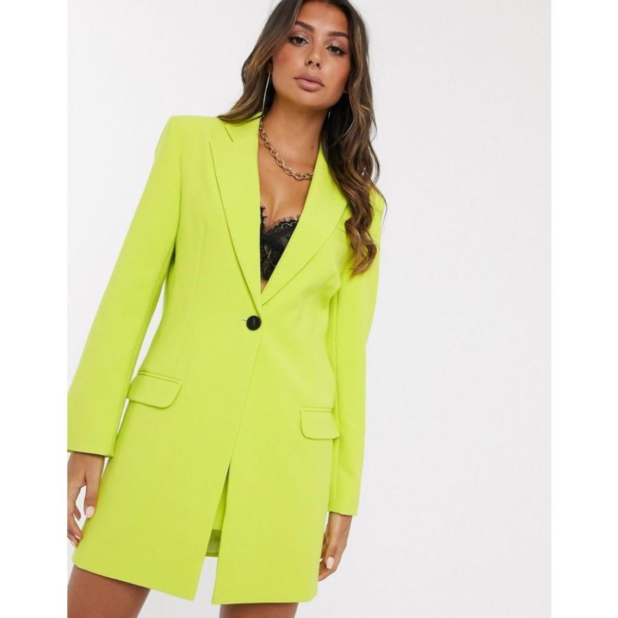 【送料無料/即納】  エイソス ASOS DESIGN レディース スーツ・ジャケット ロング丈 アウター longline suit blazer in chartreuse イエロー, エイヘイジチョウ fb0e21a1