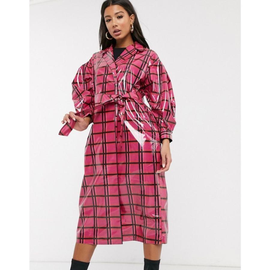 定番  エイソス ASOS DESIGN レディース トレンチコート アウター vinyl check trench coat in pink ピンクチェック, 三石郡 26d80ea7
