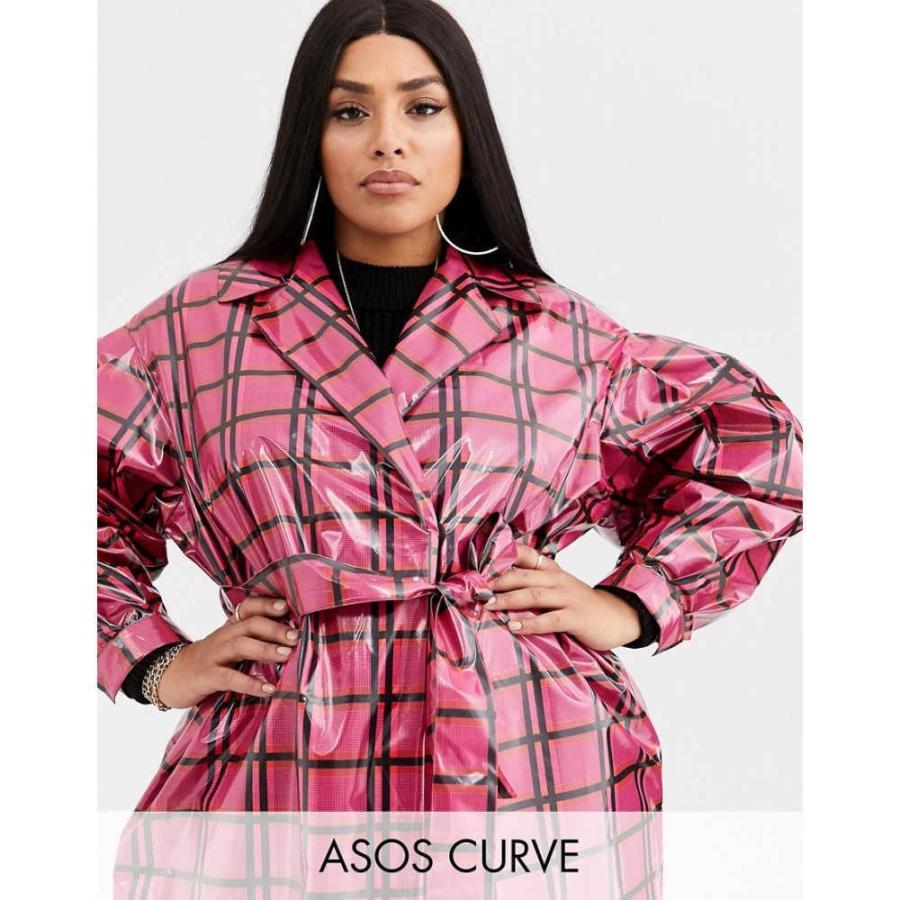 海外最新 エイソス ASOS Curve レディース トレンチコート アウター ASOS DESIGN Curve vinyl check trench coat in pink ピンクチェック, イイパワーズ db34219e