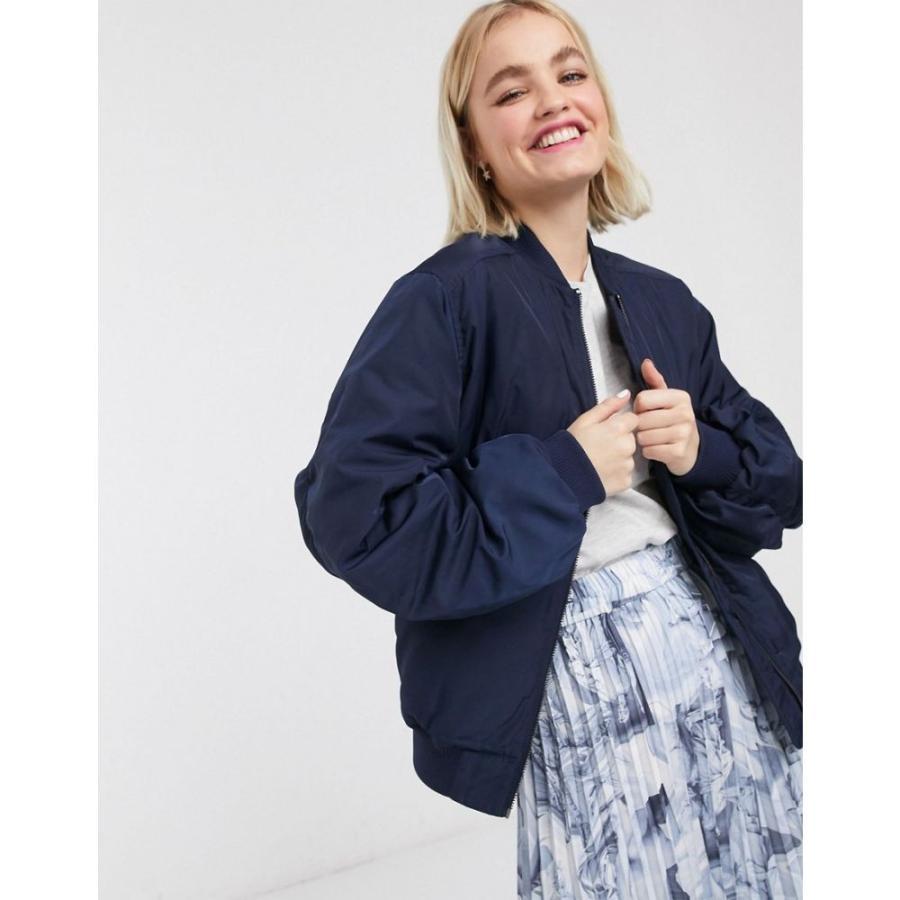 【期間限定】 モンキー Monki レディース ブルゾン ミリタリージャケット アウター nylon bomber jacket in navy ブルー, フクオト 217bd84f