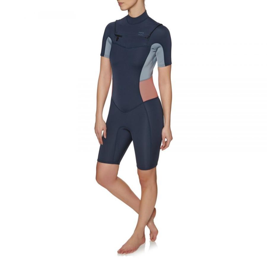 楽天 ビラボン Billabong レディース ウェットスーツ 水着・ビーチウェア Synergy 2mm 2018 Chest Zip Shorty Wetsuit Blue, ベンチシート専門店ゴールドリーフ 6074ea34