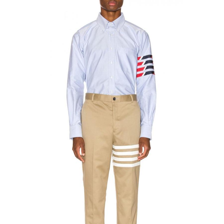 新版 トム シャツ ブラウン Browne Thom Browne メンズ シャツ トップス Shirt Straight Fit 4 Stripe Shirt Light Blue, 高山町:6daebb06 --- chizeng.com
