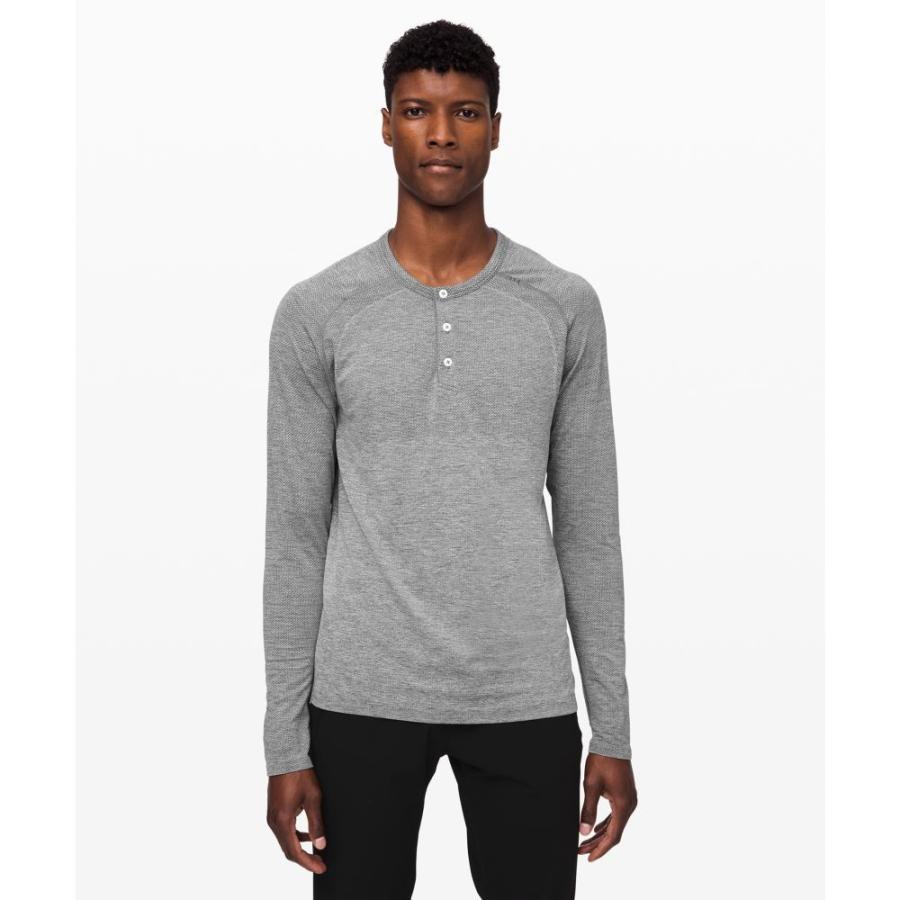 国産品 ルルレモン lululemon メンズ フィットネス・トレーニング ヘンリーシャツ トップス Metal Vent Tech Long Sleeve Henley 2.0 Slate/White, 杵築市 5830a167