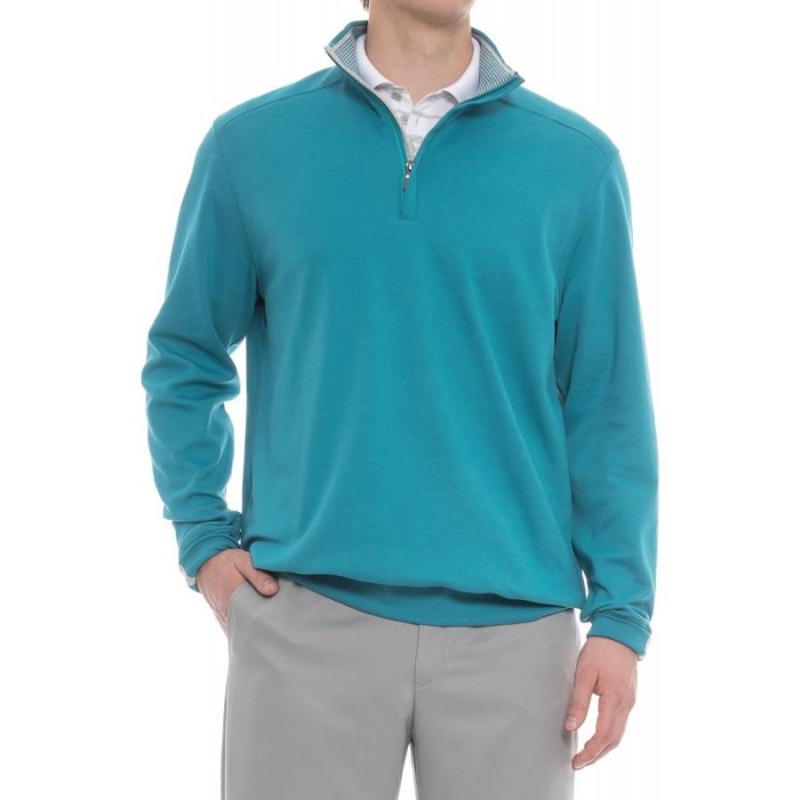 ボビージョーンズ Bobby Jones メンズ ゴルフ トップス Leaderboard Golf Pullover Shirt - Pima Cotton, Zip Neck, Long Sleeve Santorini