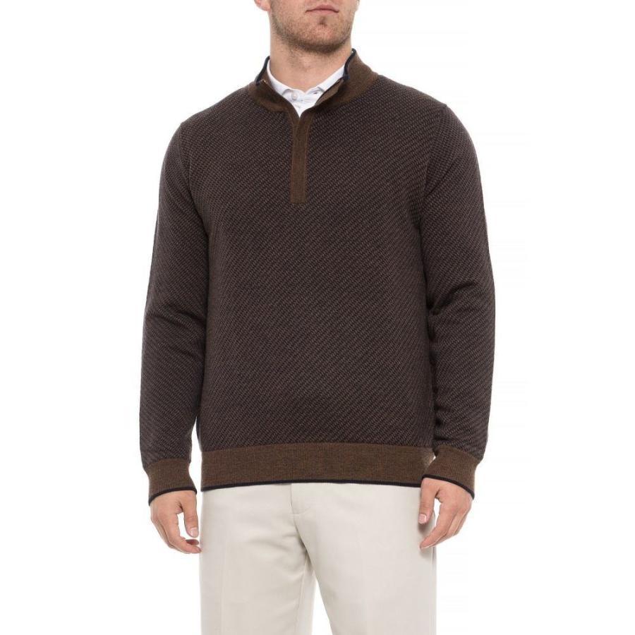 カーヌスティー Carnoustie メンズ ゴルフ ニット・セーター トップス Merino Wool Golf Sweater - Zip Neck 褐色