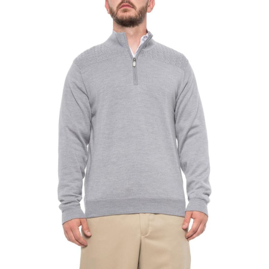 ボビージョーンズ Bobby Jones メンズ ゴルフ ニット・セーター トップス Cable Wind Golf Sweater - Merino Wool, Zip Neck Heather グレー