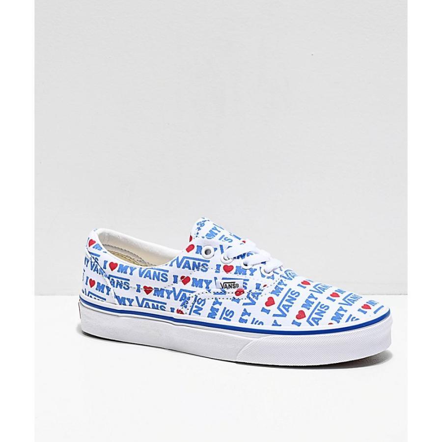 ヴァンズ VANS レディース シューズ・靴 スケートボード Vans Era I Heart Vans White & Blue Skate Shoes Blue