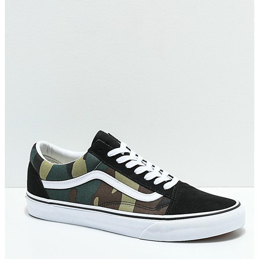 ヴァンズ VANS レディース シューズ・靴 スケートボード Vans Old Skool Woodland Camo & Black Skate Shoes Green