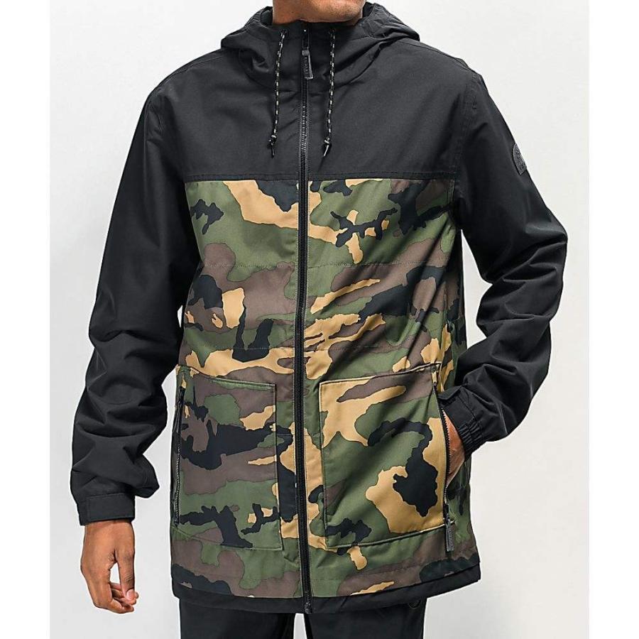 非売品 エンパイア EMPYRE メンズ スキー・スノーボード ジャケット アウター Empyre Larch Camo 10K Snowboard Jacket Black, ミヤザキムラ bb25afa4