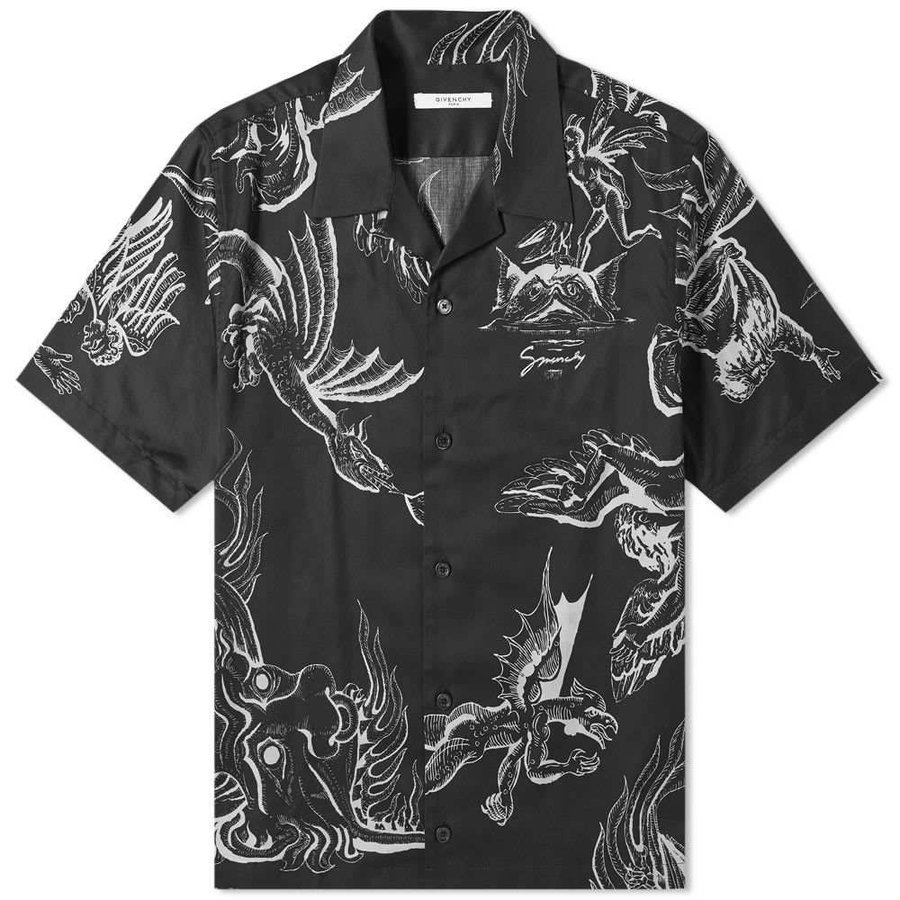 オープニング 大放出セール ジバンシー Givenchy メンズ 半袖シャツ アロハシャツ メンズ トップス dragon 半袖シャツ hawaiian アロハシャツ shirt Black, ミヤコノジョウシ:0142e4e4 --- grafis.com.tr