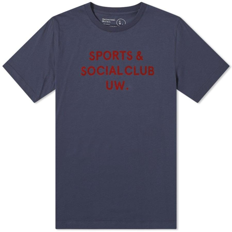 【あす楽対応】 ユニバーサルワークス Universal Works Works メンズ Tシャツ メンズ トップス 10 トップス year print tee Navy, 藤島町:2d406459 --- sonpurmela.online