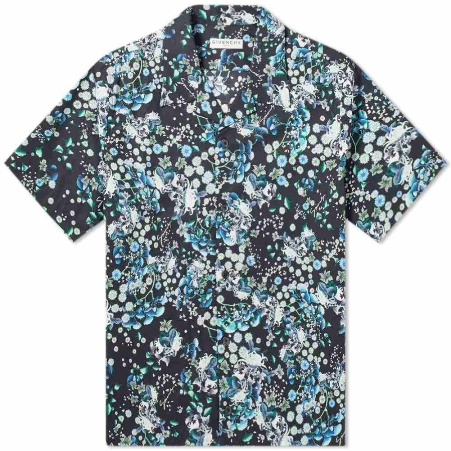 特別オファー ジバンシー Givenchy メンズ 半袖シャツ アロハシャツ トップス Short Short 半袖シャツ Sleeve Black/Blue Floral Hawaiian Shirt Black/Blue, 無農薬茶と紅茶の水車むら農園:583196cc --- grafis.com.tr