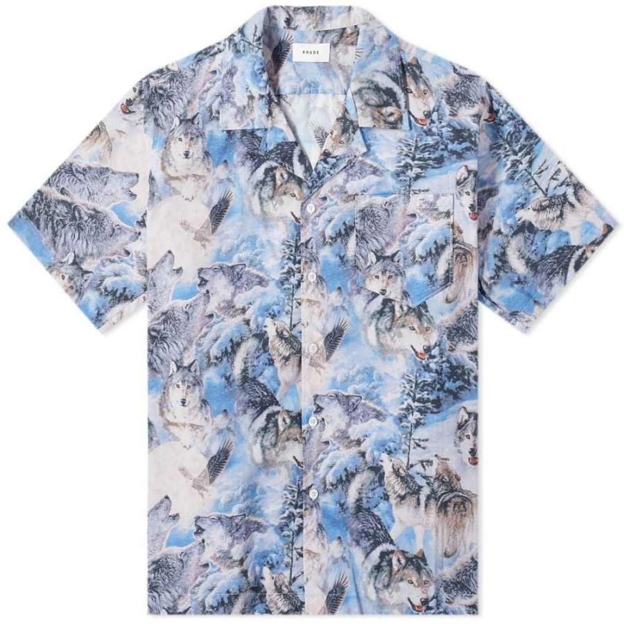 お待たせ! ルード Rhude メンズ 半袖シャツ Rhude トップス トップス Wolf Vacation Shirt Blue Blue, バリ雑貨MANJA:08a4febc --- grafis.com.tr