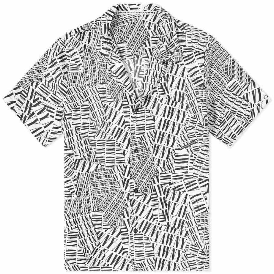 海外並行輸入正規品 アレキサンダー ワン Print Vacation Alexander Wang メンズ Alexander 半袖シャツ トップス Logo Print Vacation Shirt Black/White, ノナカ金物店:fd06c322 --- grafis.com.tr