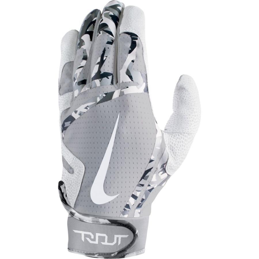 ナイキ Nike メンズ 野球 バッティンググローブ グローブ Trout Edge Batting Gloves 白い/Wolf グレー/白い