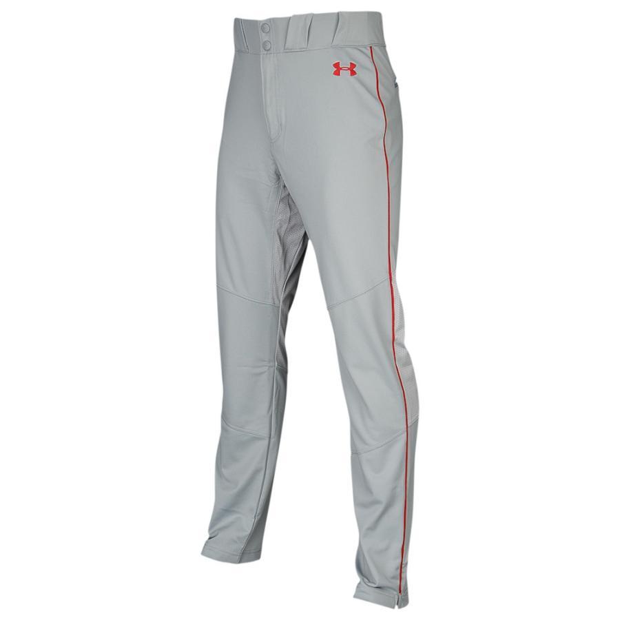 アンダーアーマー Under Armour メンズ メンズ メンズ 野球 ボトムス・パンツ Ace Relaxed Piped Pants Baseball グレー/赤/赤 35c