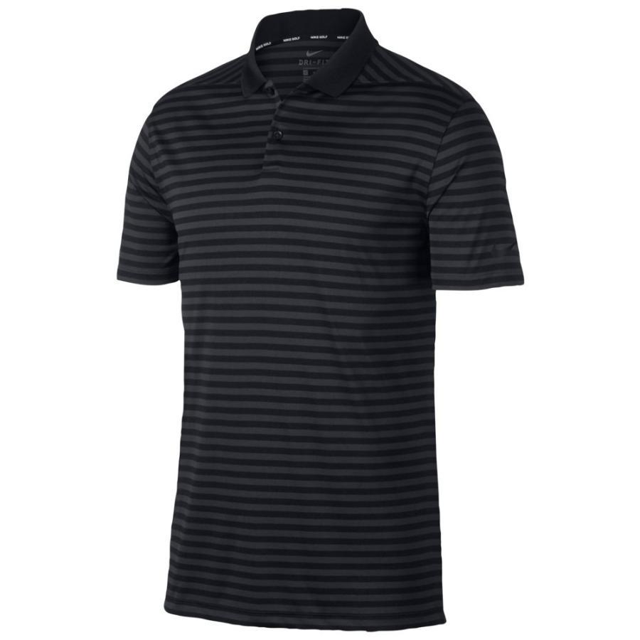 ナイキ Nike メンズ ゴルフ ドライフィット ポロシャツ トップス dri-fit victory stripe golf polo 黒/Anthracite/銀 Stripe