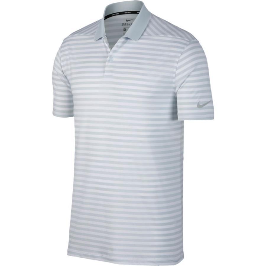 ナイキ Nike メンズ ゴルフ ドライフィット ポロシャツ トップス dri-fit victory stripe golf polo Pure Platinum/白い/銀 Stripe