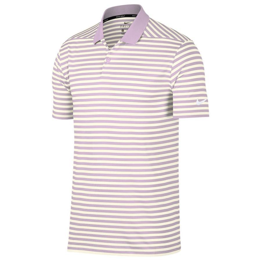 ナイキ Nike メンズ ゴルフ ドライフィット ポロシャツ トップス dri-fit victory stripe golf polo Lilac Mist/Sail/白い