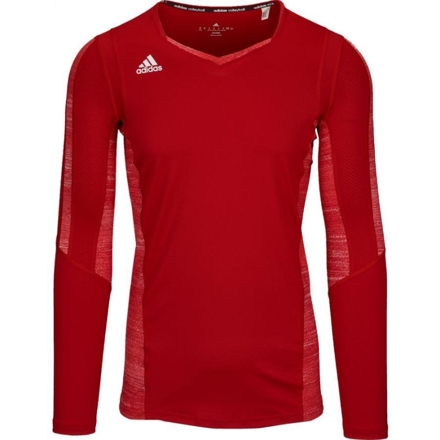 アディダス adidas レディース バレーボール トップス team quickset long sleeve jersey Power 赤/赤 Heather