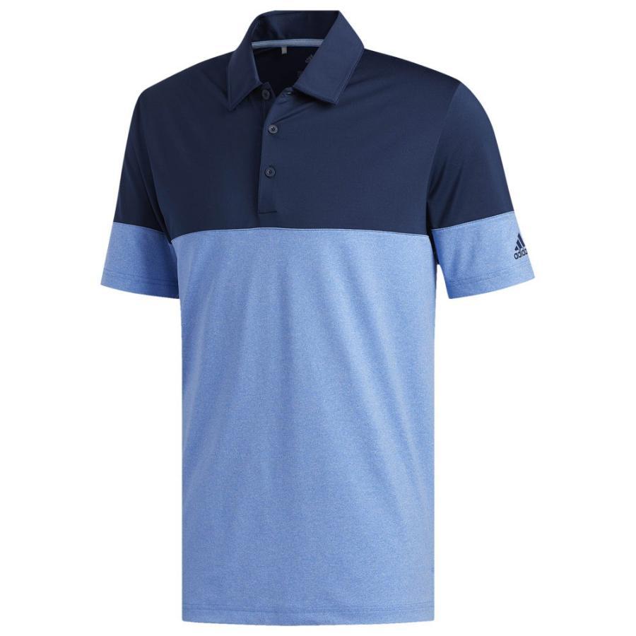 アディダス adidas メンズ ゴルフ ポロシャツ トップス ultimate heathe赤 blocked golf polo True 青/Collegiate Navy