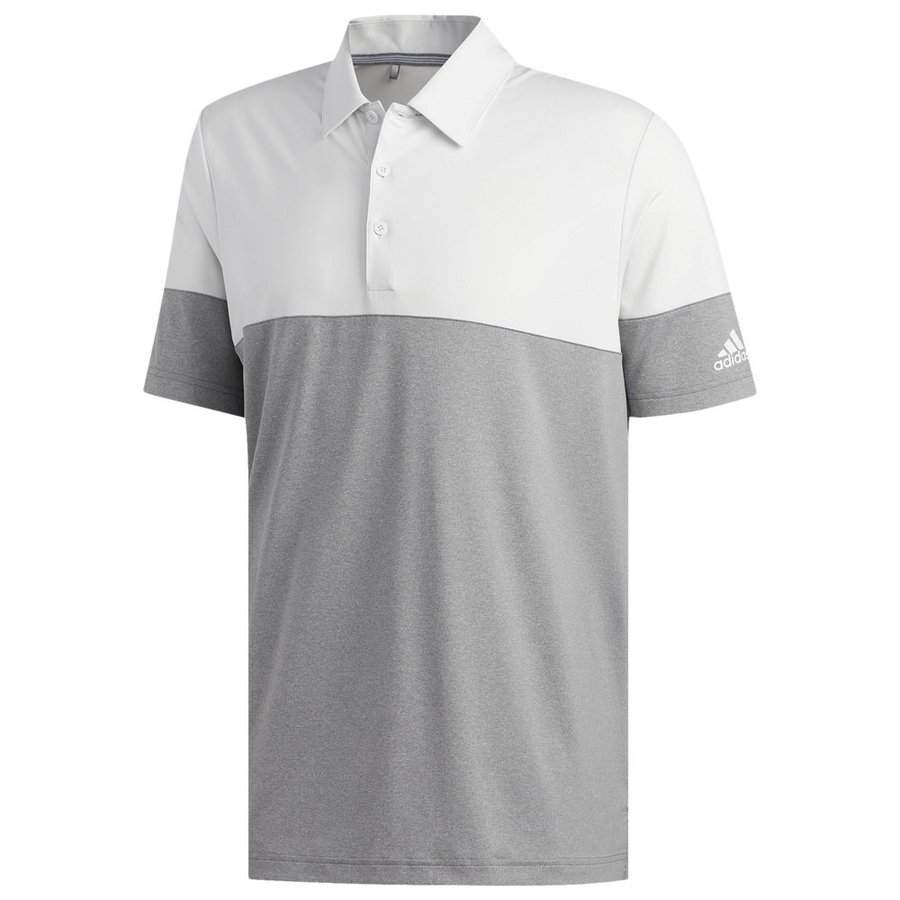 アディダス adidas メンズ ゴルフ ポロシャツ トップス ultimate heathe赤 blocked golf polo グレー/Crystal 白い