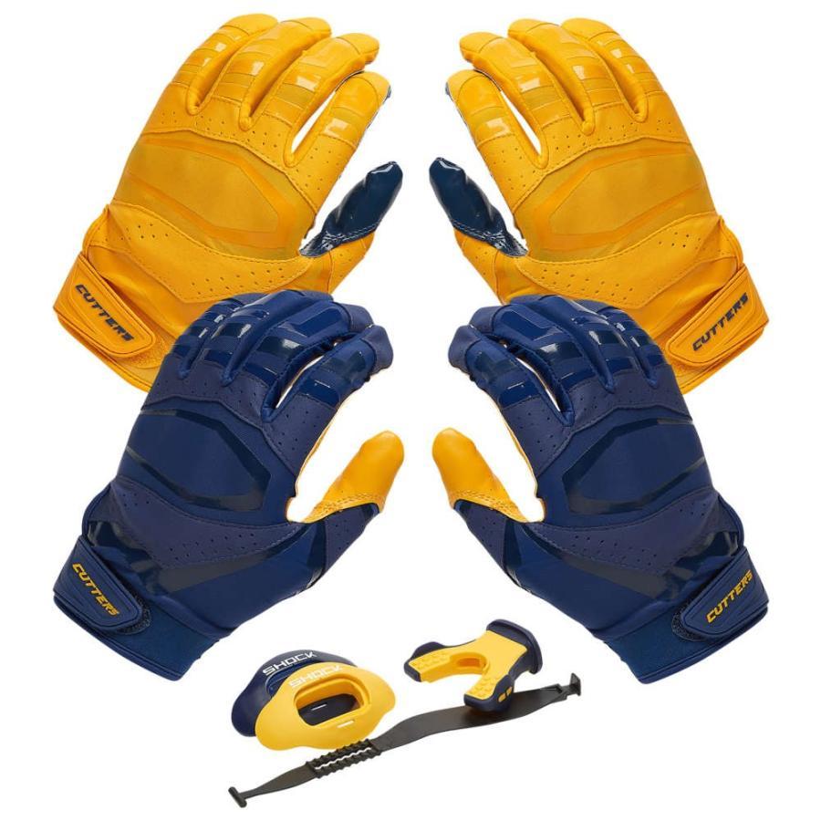 【限定価格セール!】 カッターズ Cutters Pro ユニセックス 3.0 アメリカンフットボール Rev Pro Navy/Gold 3.0 Solid Flip Combo Pack Navy/Gold Includes Sets of Receiver Gloves and Mouthguard, 京染呉服卸 平安京:1c0c3231 --- airmodconsu.dominiotemporario.com