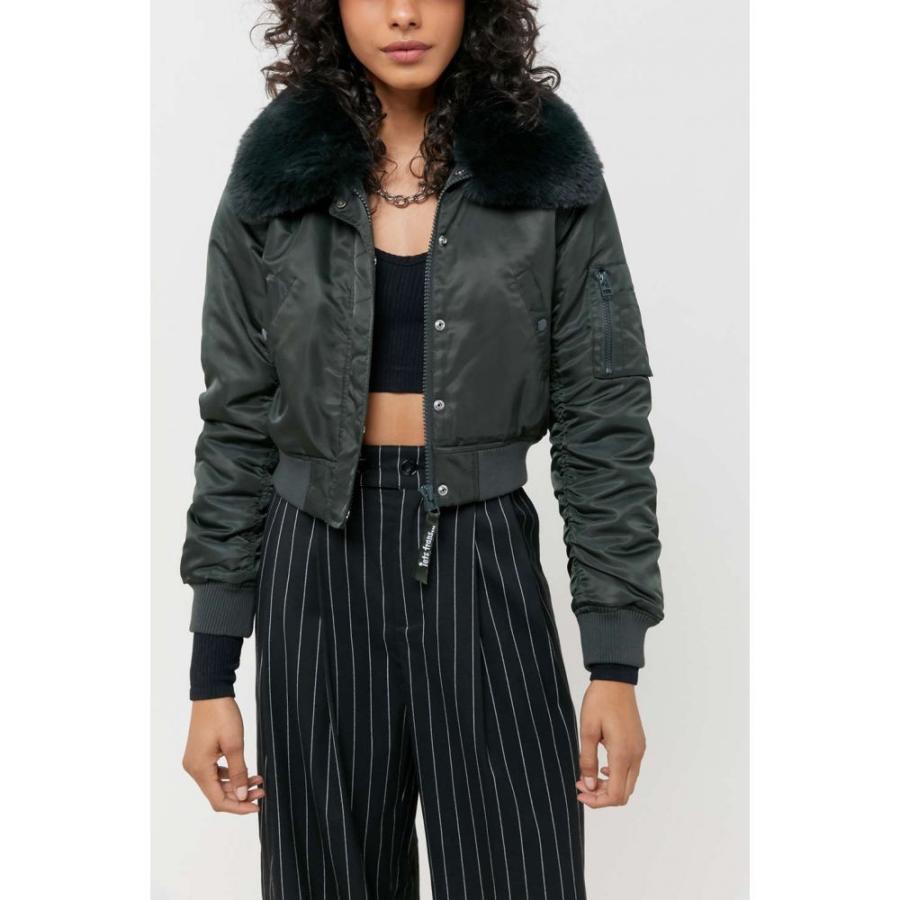 【国際ブランド】 アーバンアウトフィッターズ Urban Outfitters レディース ブルゾン ミリタリージャケット アウター UO Nova Faux Fur Trim Bomber Jacket Dark Green, ミトミムラ 629c8f17