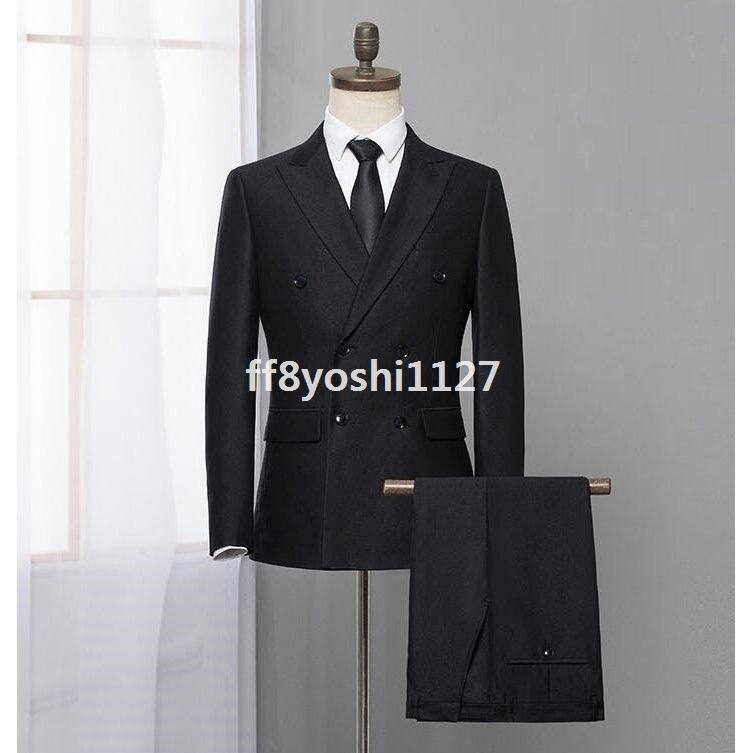 ダブルスーツ就職活動大きいサイズビジネススーツ黒セットアップスリムタキシードメンズジャケット+ズボンフォーマル2点セット結婚式通勤|ff8yoshi1127