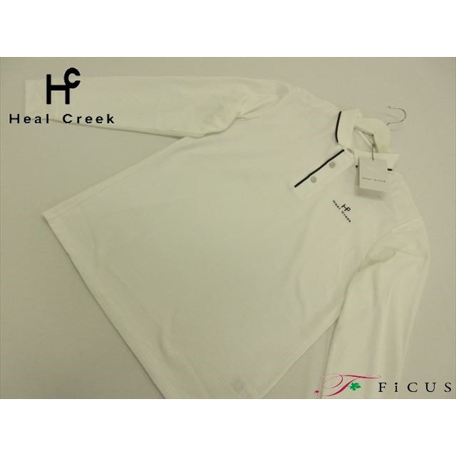 60%OFF 定価¥28,000 メンズ ゴルフウェア ヒールクリーク Heal Creek 長袖 ジャガードポロシャツ 50(L) ホワイト 秋冬