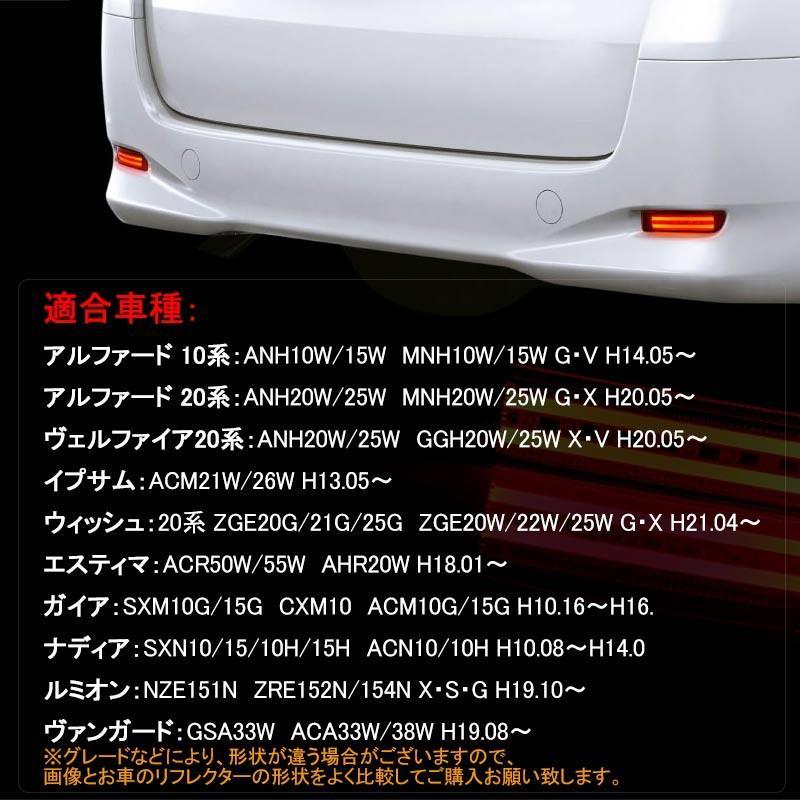 トヨタ エスティマ50系 LEDリフレクターランプ レッドレンズ 左右セット LEDバー スモール/ブレーキ連動 リフレクター アルファード10系/20系など|field-ag|03