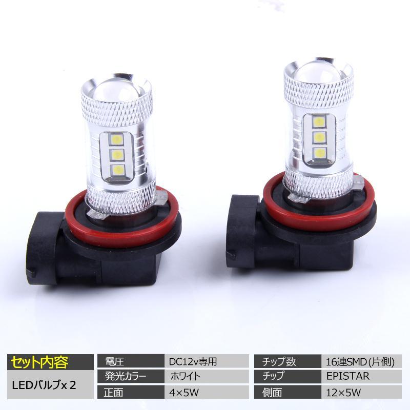 LED フォグランプ 80W H8/H11/H16共通形状 2球セット 白 ホワイト|field-ag|02