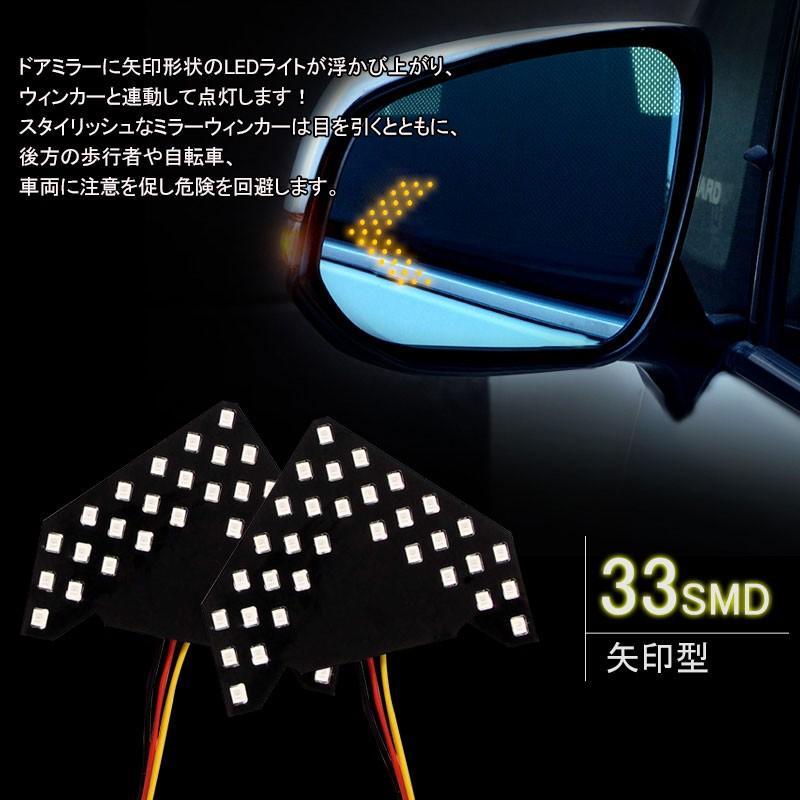 汎用 ドアミラー用 矢印型 ウインカーランプ 片側33連SMD アンバー ウインカー シーケンシャルウインカー|field-ag|04